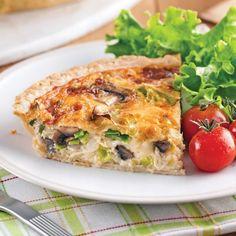 Quiche aux champignons et poireaux Omelette, Brunch, Sandwiches, Stuffed Mushrooms, Good Food, Gluten Free, Cooking Recipes, Breakfast, Desserts
