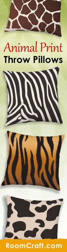 Zebras and tigers and giraffes, oh my! These beautiful animal print throw pillows will make your safari or jungle themed room come together. Each design is offered in multiple fabrics, colors, and sizes making them the perfect addition to any living space or bedroom. Our quality animal pillow covers are made to order in the USA and feature 3 wooden buttons on the back for closure. Choose your favorite and create a truly unique pillow set. #roomcraft
