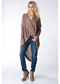 A Touch Of Twist Long Sleeve Cardigan in Brown | Necessary Clothing