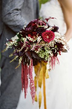 This dark color bouquet is so chic for fall wedding. Bridal Bouquets, Wedding Flowers, Floral Design