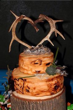 Country Wedding Cakes Wood with antlers wedding cake Cute Wedding Ideas, Wedding Themes, Trendy Wedding, Our Wedding, Dream Wedding, Elegant Wedding, Wedding Stuff, Hunting Wedding, Wedding Places