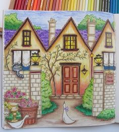 A coloring page in the Romantic Country coloring book that I colored. I sorta followed a YouTube video on this one. Love this book! God bless your days!
