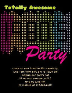 Totally Awesome 80s party invite