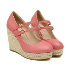 $14.32 Party Women's Wedge Shoes With Weaving and Double Buckles Design
