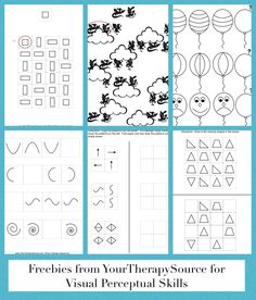 Patterns free sample page to practice visual discrimination, visual motor and visual closure skills from Your Therapy Source.