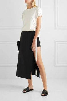Rosetta Getty - Paneled Cotton-blend Faille Shorts - Black - US10
