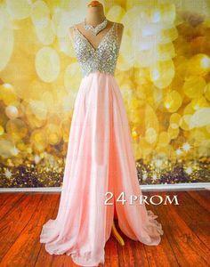 Pink V neckline Chiffon Long Prom Dresses, Evening Dress – 24prom