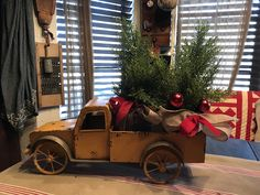 Yellow metal truck with Christmas trees Christmas Things, Christmas Fashion, Primitive Christmas, Country Christmas, Christmas And New Year, Winter Christmas, Christmas Trees, Vintage Christmas, Christmas Crafts