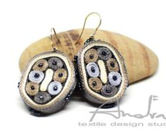 Earrings silver blue grey Textile dangle от AudraTextileStudio