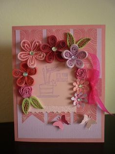 Handmade Greeting Pink Quilling It's Your Birthday by FromQuillingWithLove