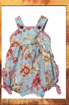 Baby Girls beautiful Vintage Floral Rompa with Matching Headband. Size 0,1,18m