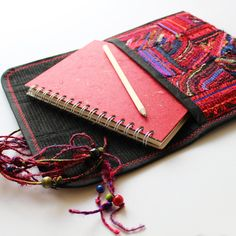 Cherry ScrapJam Journal Case - Embroidered Red Journal Cover with A5 Sketchbook £35.00