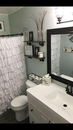 farmhouse bathroom S.- sea salt walls farmhouse bathroom S. Modern Bathroom Decor, Hall Bathroom, Bathroom Renos, Modern Decor, Bathroom Ideas, Small Bathroom Colors, Budget Bathroom, White Bathroom, Bathrooms Decor