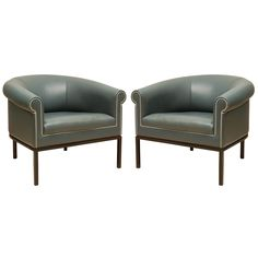 Pair Of Leather Metropolitan Club Chairs for sale by Lawson-Fenning $2450