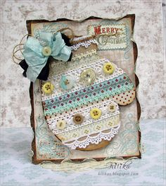 Tangerine Juice-skrabuking, handmade greeting cards, flowers from tissue master classes: Christmas mitten with. Retro Merry Christmas!
