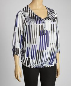 Take a look at this Gray & Purple Top - Plus by Zac & Rachel on #zulily today!