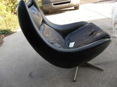 RARE Mid Century Modern Eames Era Leather and Chrome Egg Chair | eBay (Leather and open sides. Like dramatic swooping back, too.)