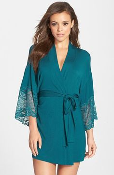 FLORA NIKROOZ 'Lena' Lace Trim Jersey Kimono Robe (Nordstrom Online Exclusive) available at #Nordstrom