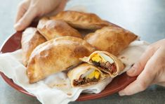 These Chilean empanadas are easy to make and sure to be a favorite. The dough is easy to handle and the filling is flavorful with beef, tomatoes, olives and hard-cooked eggs. Baking the empanadas gives them a crisp texture without frying, the traditional method. Inspired by Whole Planet Foundation® microcredit client recipes.