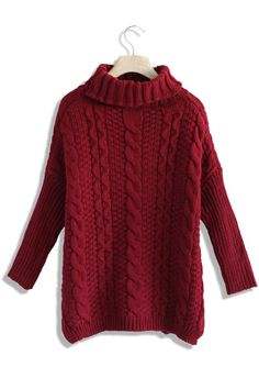 Dark Green Cable Knit Roll Neck Sweater (Red Wine)