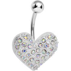 Jazzy Joy Aurora Gem Heart Belly Ring | Body Candy Body Jewelry #bodycandy #bellyring #piercing