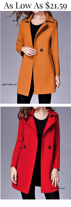 Casual light women coat for spring and fall. Great choice for daily wear. Shop it in mustard yellow, red and blushing pink colours at just $21.59. Click to shop.