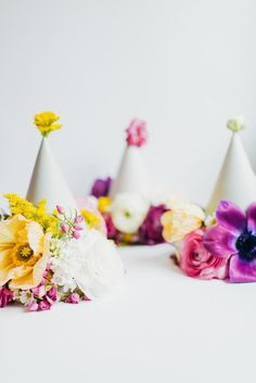 DIY Floral party hats  | party hats | birthday party ideas | diy birthday hats