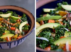 ROASTED VEGETABLE, AVOCADO AND KALE SALAD