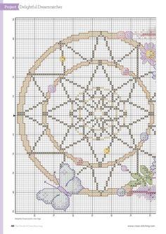 Borduurpatroon Kruissteek Dromenvanger *Embroidery Cross Stitch Pattern Dreamcatcher ~met Bloemen 2/4~