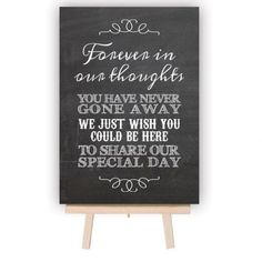 In Loving Memory Wedding Table Decoration Sign - Chalkboard Style | GiftWrappedandGorgeous.co.uk A gorgeous table decoration for your wedding day, this chalkboard style sign is perfect for sitting on your Memory Table in remembrance of your loved ones that can't share your special day! Each sign is available in either A5 (small) or A4 (Medium), aluminium printed with a chalkboard effect.This stylish chalkboard effect sign is a unique addition to your wedding decorations and remembers your…