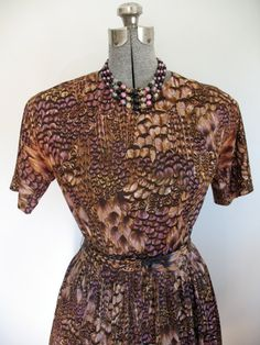 Sz. L, 50-60s Feather Print, Stroller Dress by Dyanne in Brown & Purple, Belted. $65.00  by LikewiseVintage