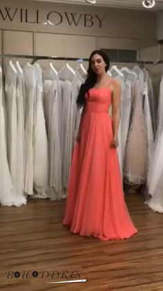 Prom Dresses Formal Dresses Wedding Party Dresses with Spaghetti Straps Prom Dresses Long Pink, Bridesmaid Dresses, Formal Dresses, Bridesmaids, Gowns With Sleeves, Chiffon Dress, Dress Lace, Wedding Party Dresses, Occasion Dresses