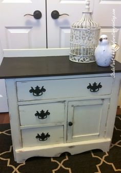 Painted Refinished Antique Wash Stand - Studio Paint AS Old White Java Gel Stain www.niagarafurniturepainting.com