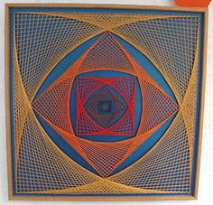 Geometric coloured 1960s string art picture original vintage retro