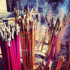 Incense burns at the White Cloud Temple in Beijing, #China.    Photo courtesy of sallies on Instagram.
