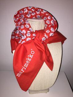 Marimekko Suomi Puketti Vintage Scarf Cotton Signed pretty Flower Print  RARE! Vintage Scarf adb2ca1038887