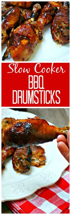 Easy Slow Cooker BBQ Drumsticks: A few simple To ingedients and very little work will give you the most tender, juicy, and flavorful chicken drumstick you have ever had.