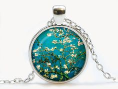 Van Gogh Almond branches in bloom art pendant. Van Gogh Necklace. Van Gogh jewelry. Birthday gift by luckyjewelry3 on Etsy https://www.etsy.com/listing/192564169/van-gogh-almond-branches-in-bloom-art