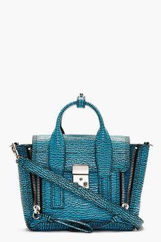 3.1 Phillip Lim Turquoise Textured Leather Pashli Mini Satchel