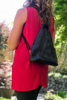 Perfect for the traveler or that adventurous one! It's a smaller lightweight backpack. Zip closure & design keeps your valuable safe. A small inside and outside zip wall pocket great for keys or passport. The front slip pocket is handy for quick access items. Many colors available to match your style. Made in Florence Italy #passportholder #bagsandpurses #travelessentials #everydaycarry #backpackstyle Italian Leather Handbags, Leather Purses, Small Umbrella, Colorful Backpacks, Lightweight Backpack, Leather Backpack Purse, How To Make Handbags, Florence Italy, Day Use