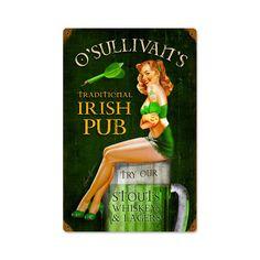 Irish Pub Vintage Metal Sign 12 x 18 Inches, $49.97
