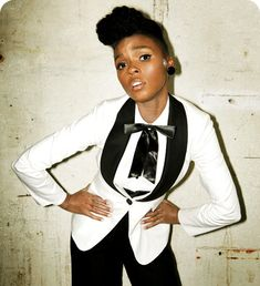 Mix and match. Pair a white jacket with black pants, a la Janelle Monae. Interested in this look? Shop and be inspired here: http://rstyle.me/~2HpqI