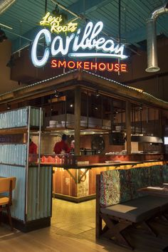 Designers designed the interiors for Levi Roots Caribbean Smokehouse, the popular high street Caribbean restaurant in Brixton, London. Restaurant Signage, Grill Restaurant, Rustic Restaurant, Restaurant Ideas, Caribbean Cafe, Caribbean Restaurant, Caribbean Decor, Bar Interior, Restaurant Interior Design
