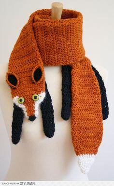 pdf pattern for fox scarf crochet pattern by beesknee… na Stylowi.pl