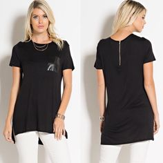 Black on Black Faux Leather Pocket Top Black on black slinky-look tee features faux leather front pocket, gold tone visible zipper at back collar, side seam slits, and slight high/low hemline. Fabric content: Shirt, 95% rayon, 5% spandex. Pocket, 100% polyester. Made in U.S.A.. Brand new for boutique retail. No trades, no holding, no offsite payment.     ❗️DO NOT PURCHASE THIS LISTING❗️ Request size when ready to buy & I will list it       PRICE IS FIRM UNLESS BUNDLED Tops