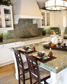 Costa Esmeralda Granite Kitchen Countertops with white cabinets. Green Kitchen Countertops, Granite Backsplash, Stone Countertops, Granite Kitchen, New Kitchen, Kitchen Ideas, German Kitchen, Backsplash Ideas, Kitchen Inspiration