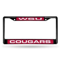 Washington State Cougars Black Chrome Laser Cut License Plate Frame