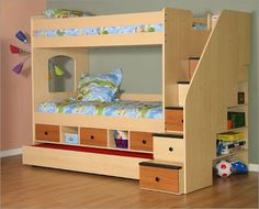 DIY Bunk Bed Plans Set With A Trundle Drawers Below The