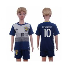 Sverige Trøje Børn 2016 #Ibrahimovic 10 Udebanetrøje Kort ærmer,199,62KR,shirtshopservice@gmail.com