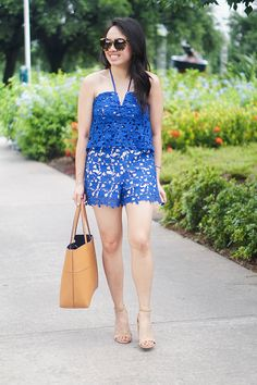 cute blue lace romper under $100 // summer style // spring outfits